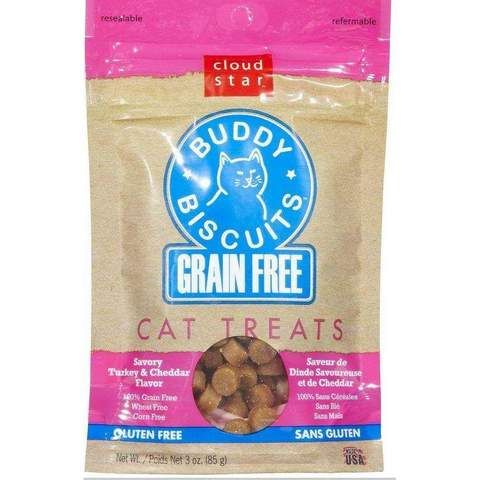 Buddy Biscuits Savory Turkey Cheddar Cat Treats.