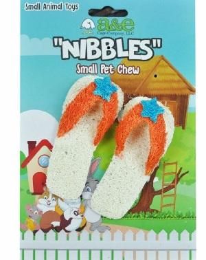 A & E Nibblers Loofah Flip Flops Small Pet toy