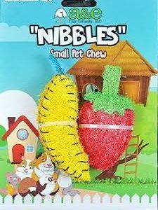 A & E Nibbles Loofah Banana and Strawberry Small Pet Chew